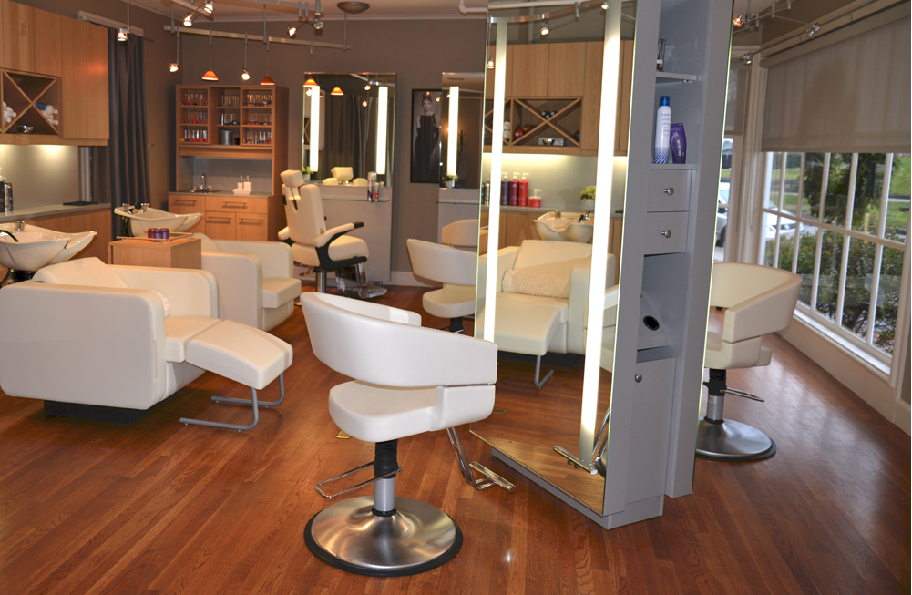 Salon and spa equipment hair salon design am salon for Salon furniture makeup station